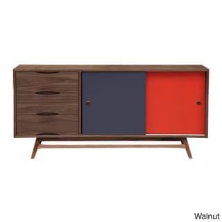 Kardiel  Color Pop Mid-century Modern 2-Door Credenza (Walnut Finish - Walnut/Orange/Charcoal Doors)