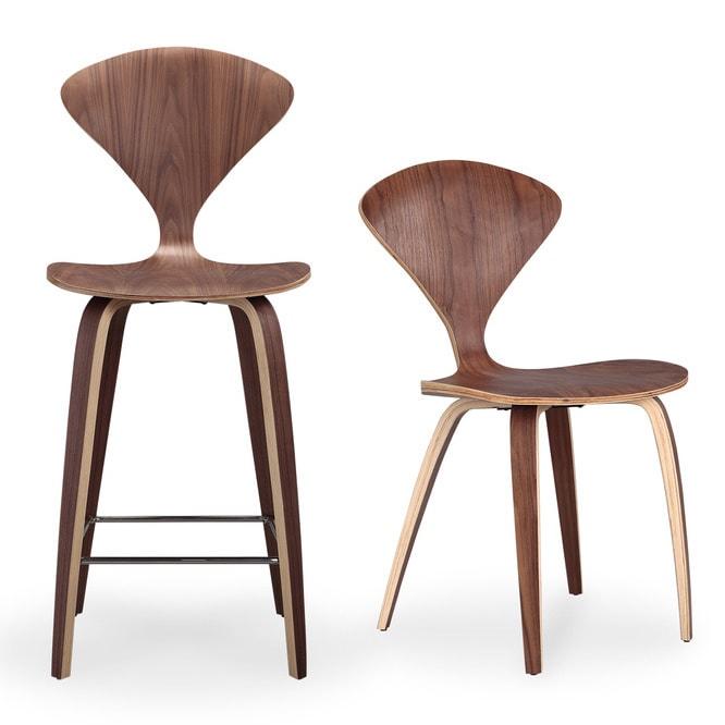 Karl Manta Set Of 2 Modern Walnut Wood Barstools