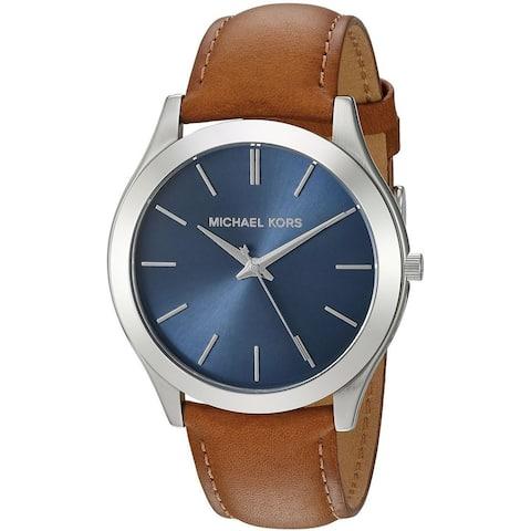 Michael Kors Men's MK8508 'Slim Runway' Brown Leather Watch
