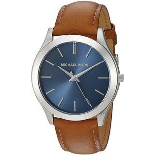 Michael Kors Men's MK8508 'Slim Runway' Brown Leather Blue Dial Watch