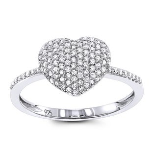 Luxurman Ladies Pave Diamond Heart Ring in Sterling Silver 0.33ct (H-I; I1-I2)