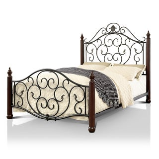 Furniture of America Lisandre Transitional Metal Four Poster Bed