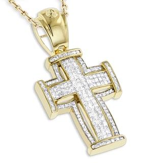 Luxurman 14K Gold Princess Cut Diamond Cross Pendant 2.25ct (G-H; SI1-SI2)