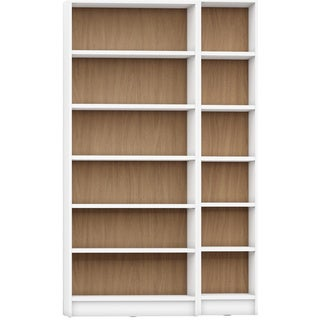 Manhattan Comfort Greenwich 2- Piece Bookcase 12- Wide and Narrow Shelves