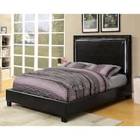 Furniture of America Winona Contemporary LED Light Trim Espresso Leatherette Platform Bed