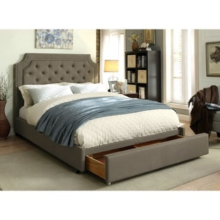 Furniture of America Fraiser Contemporary Grey Tufted Linen-like Fabric Footboard Storage Bed