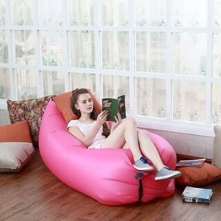 ETCBUYS Ripstop Nylon Inflatable Pop-up Sleeping Bag Air Sofa Hammock Bed (Option: Pink)