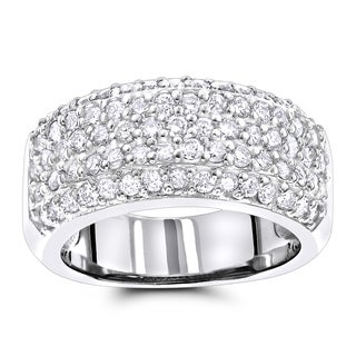Luxurman Diamond Wedding Bands 14K Pave Diamond Band 1.5ct (H-I; SI1-SI2)