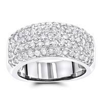 Luxurman Diamond Wedding Bands 14K Pave Diamond Band 1.5ct