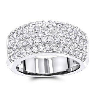Luxurman Diamond Wedding Bands 14K Pave Diamond Band 1.5ct (More options available)