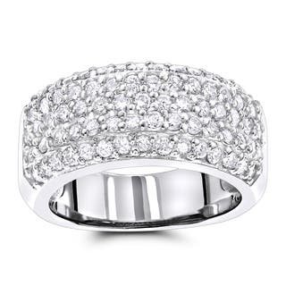 Luxurman Diamond Wedding Bands 14K Pave Diamond Band 1.5ct