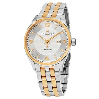 Hamilton Men's H42725151 'Jazzmaster' Silver Dial Two Tone Stainless Steel Viewmatic Swiss Automatic Watch|https://ak1.ostkcdn.com/images/products/12747513/P19524702.jpg?impolicy=medium