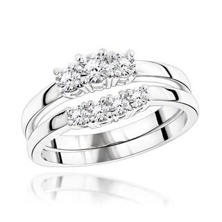 Luxurman 18K Gold Diamond Three Stones Engagement Ring Set 0.55ct