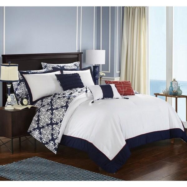Chic Home 10-Piece Lalita BIB Navy Comforter Set