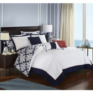 Chic Home 10-Piece Lalita BIB Navy Comforter Set
