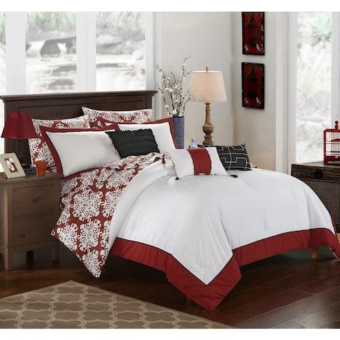 Chic Home 10-Piece Lalita BIB Marsala Comforter Set