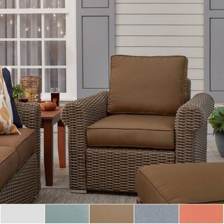 Barbados Wicker Outdoor Cushioned Brown Mocha Occasional Chair with Rolled Arm iNSPIRE Q Oasis