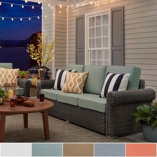 Barbados Wicker Outdoor Cushioned Grey Charcoal Sofa with Rolled Arm by NAPA LIVING