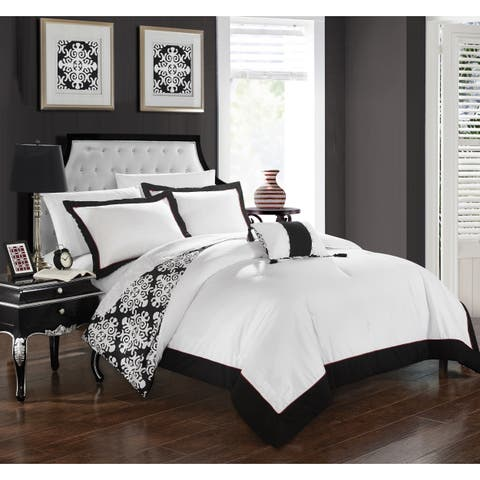 Chic Home 8-Piece Maribeth BIB Black Duvet Set