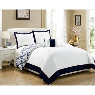 Chic Home 8-Piece Maribeth Navy BIB Duvet Set