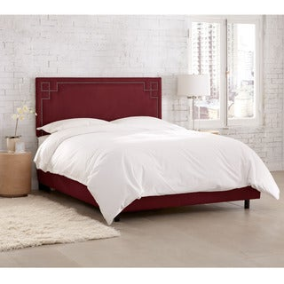 Skyline Furniture Velvet Berry Nail Button Bed