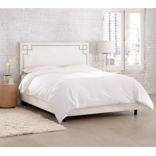 Skyline Furniture Velvet White Nail Button Bed