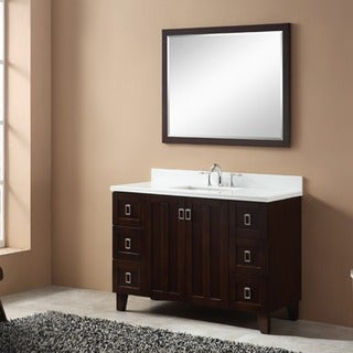 Phoenix White Artificial Marble Top Brown Finish 48-inch Single Bathroom Vanity