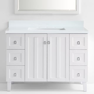 Phoenix White Artificial Marble Top White Finish 48-inch Single Bathroom Vanity