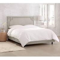 Skyline Furniture Velvet Light Grey Nail Button Bed