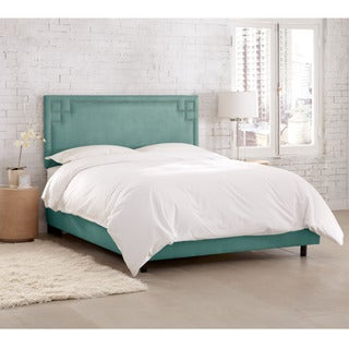 Skyline Furniture Velvet Caribbean Nail Button Bed