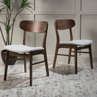 Lucious Mid-Century Wood Dining Chair with Fabric (Set of 2) by Christopher Knight Home