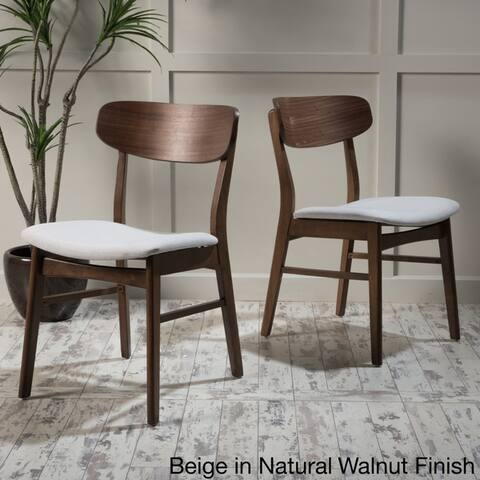 Fabric-upholstered Wood Dining Chairs (Set of 2) by Christopher Knight