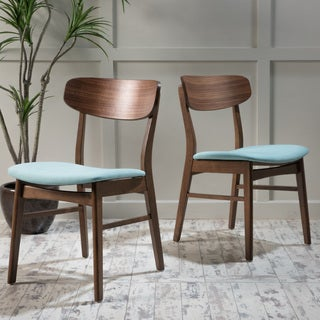 Christopher Knight Fabric Upholstered Wood Dining Chairs (Set Of 2)