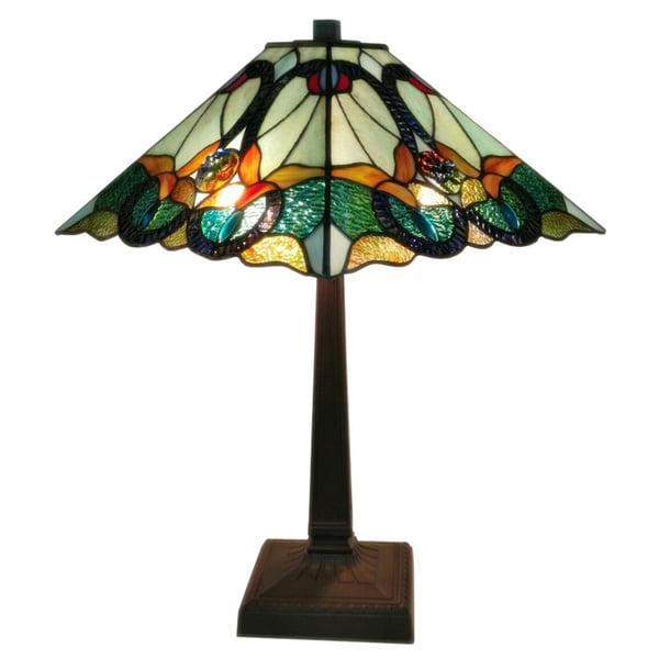 amora lighting am254tl14 multicolored art glass 23 inch high tiffany. Black Bedroom Furniture Sets. Home Design Ideas
