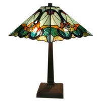 Amora Lighting AM254TL14 Multicolored Art Glass 23-inch High Tiffany-style Floral Mission Table Lamp