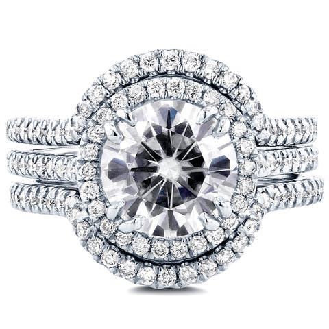 Annello by Kobelli 14k White Gold 2 1/2ct TGW Round Moissanite and Diamond Halo 3-Piece Bridal Set