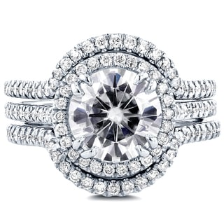 Annello 14k White Gold Round Moissanite and 5/8ct TDW Diamond 3-Piece Floral Antique Bridal Set (G-H, I1-I2)