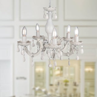 Warehouse of Tiffany Ecaterina White Acrylic 5-light Chandelier