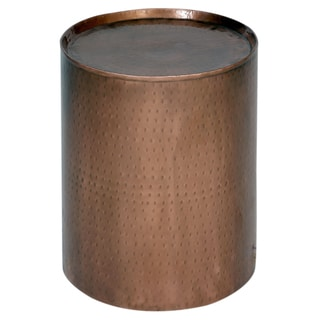 Handmade Wanderloot Rotonde Hammered Copper Metal Industrial Round End Table (India)