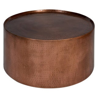 Handmade Wanderloot Rotonde Hammered Copper Metal Industrial Round Coffee Table (India)