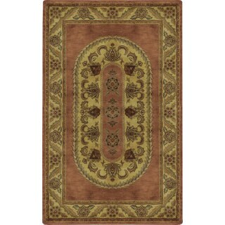 Hand-tufted Majestic Brick Wool Oval Rug (5'x8')
