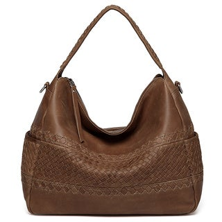 Vicenzo Leather Zaira Distressed Leather Hobo Handbag