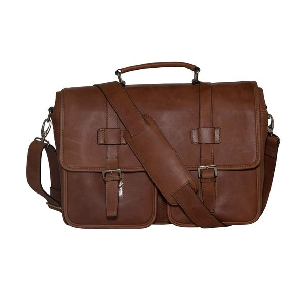 d0d3c0757a Vicenzo Leather Baxton Full Grain Leather 14.5-inch Laptop Messenger Bag