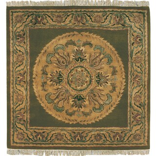Hand-tufted Majestic Green Wool Rug Square (8' x 8')