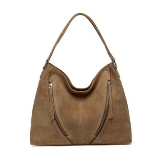 Vicenzo Leather Noelia Suede Leather Hobo Handbag