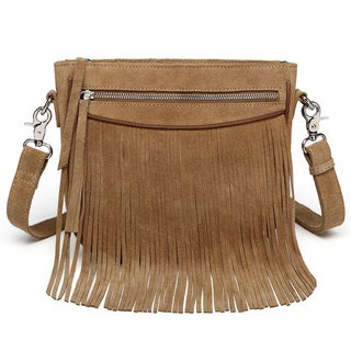 Vicenzo Leather Donata Suede Leather Fringe Crossbody Handbag