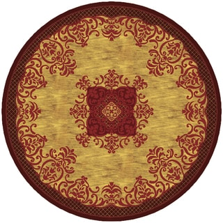 Imperial Collection Multicolor Wool Hand-tufted Round Area Rug (6' x 6')