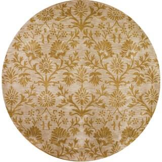 Hand-tufted Atlas Khaki Wool Round Rug (6' x 6')