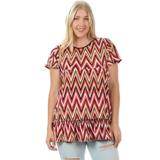 Women's Plus Size Chevron Drape Ruffled Top