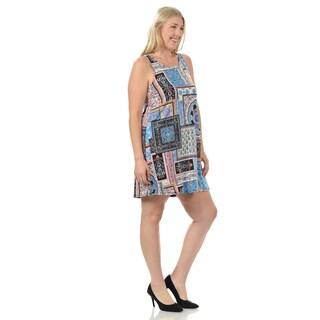 Women's Plus Size Sleeveless Patchwork Print Dress